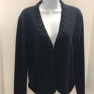 Jones New York Navy Blue Sweater beaded size L